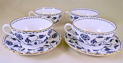 4 Spode Blue Colonel Y6235 Cups with 2 Saucers, Gold Trim