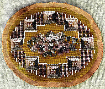 Antique beaded needlepoint oval mat, 19th C. PRICE REDUCED