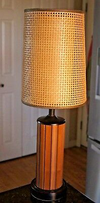 Vintage Mid Century Modern Table Lamp Double Cylindrical Shades Wood Slat Base