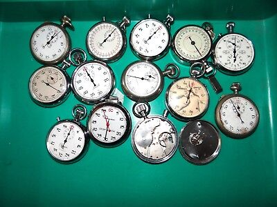 LOT OF 13 Vintage & Antique STOP WATCHES to repair or for parts - Ingraham Works