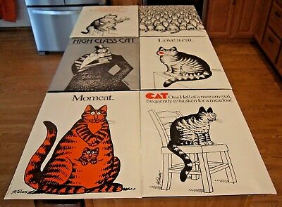Vintage Art Prints B Kliban Set of 6 Cat Posters 18x24 & Envelope 1977 AWESOME!