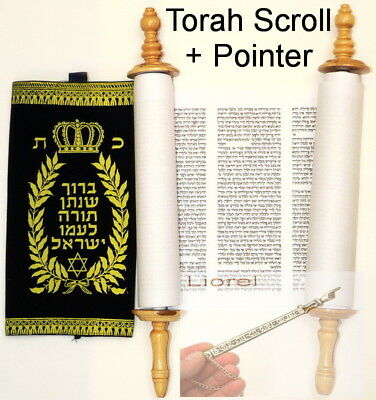 Large Sefer Torah Scroll + Yad Pointer, Hebrew Bible Book Judaica Made in Israel