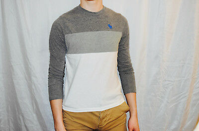 Abercrombie And Fitch A&F Boys Grey And White Longsleeve Shirt Size XL