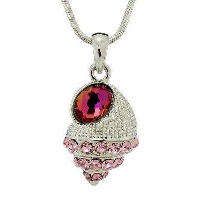 "Sea Shell Ocean Seashell W Swarovski Crystal Pink New Pendant 18"" Chain"