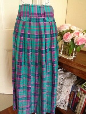 VINTAGE  1970's SATIN STYLE FABRIC LONGER LENGTH SKIRT TARTAN PATTERN