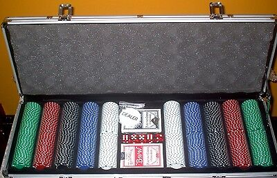 Poker Chip Set, 500 Ct, 2 Decks Cards, 5 Dice Aluminum Case (New in Box w/Tags)