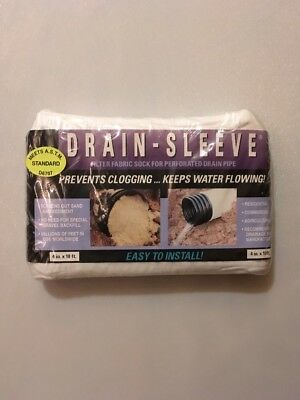 """Drain Sleeve Filter Fabric Sock 4 """" X 10' L For Perforated Drain"""