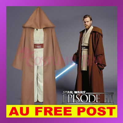 Star Wars Obi Wan Kenobi Jedi Master Knight Hooded Cloak Set Tunic Robe Costume