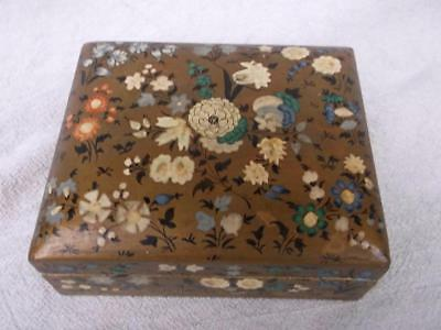 244 / Early 20Th Century Kasmir Sandalwood Box Hand Painted With Flowers