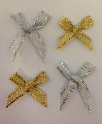 25 Gold Silver Glittered Ribbon Bows Christmas Card Making Craft Embellishments