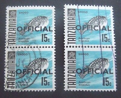 Tanzania-1967-2 X Joined pairs of 15c Official Fish overprints-Used