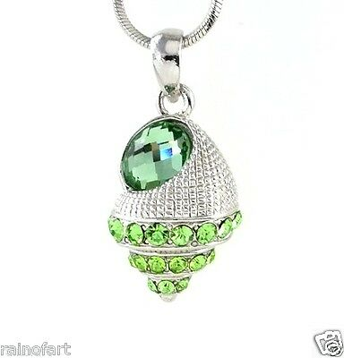 Sea Shell Ocean Seashell W Swarovski Crystal Sea Green New Pendant