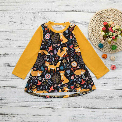 Toddler Kid Baby Girls Cartoon Fox Print Long Sleeve Loose Dress Clothes Outfits