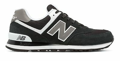 New Balance Mens 574 Classics Shoes Black with Grey & White
