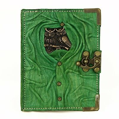 Handmade Real Leather Journal Diary Notebook Book Cover Case Refill Green Owl