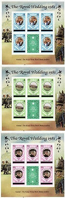 Caicos Islands 1981 Royal Wedding Set Of All 3 Sheets London Printing Mnh