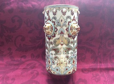 ANTIQUE ZSOLNAY CYLINDER VASE NO. 791 (21 cms tall) see description.