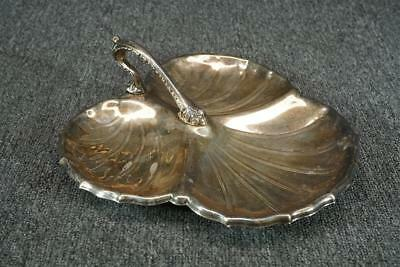 """10.25"""" Long Clover Shaped Divided Silver Plated Serving Tray With Handle"""