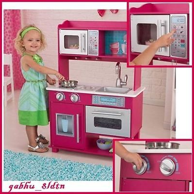 Kids Kitchen Play Set Pretend Cooking/Baking Toy Kidkraft Playset Wood Pink  New