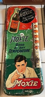 VERY RARE 1920'S MOXIE SIGN THERMOMETER awesome color & graphics Yes it works