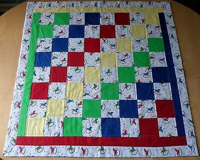 UNIQUE Hand Made Child/Baby's Patchwork Quilt /Blanket /Play Mat - Rocking Horse