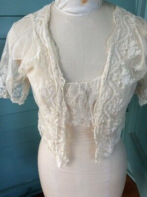 Vintage French tambour Lace Wedding Dress Bodice salvage fragment Upcycle Reuse