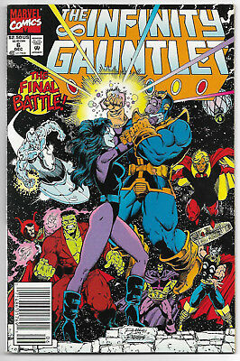 The Infinity Gauntlet #6 (Dec 1991, Marvel Comics) Thanos Story Ends Newsstand
