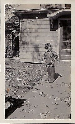 Old Vintage Antique Photograph Adorable Little Girl Wearing Huge Boots