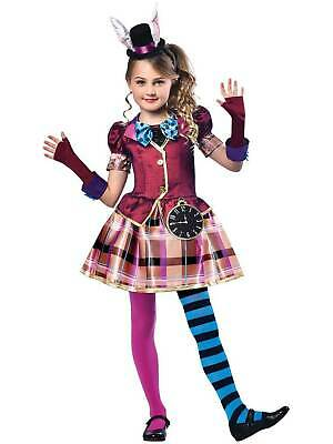 Girls Mad Hatter Costume Child Fairytale Alice Fancy Dress Kids Book Week Outfit