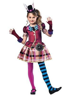 Girls Miss Mad Hatter Costume Child Alice Fancy Dress Kids Book Week Day Outfit
