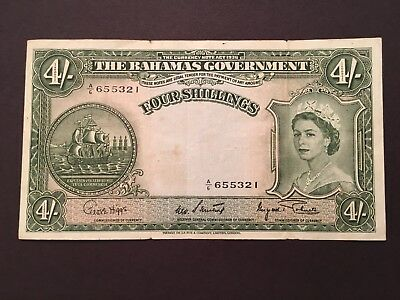 The Bahamas Government 4 Shillings Banknote 1953 P13d