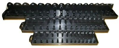 "IIT 71315    3pc Metric Socket Tray Organizer Set- 1/4"" 3/8"" 1/2"" Drive - Black"