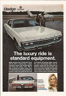 1970 Dodge Monaco Automobile Original Ad
