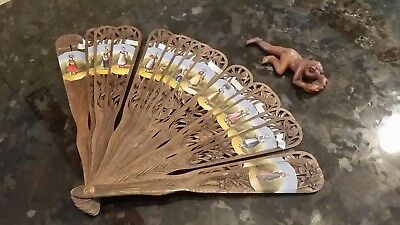 handpainted wooden fan and carving