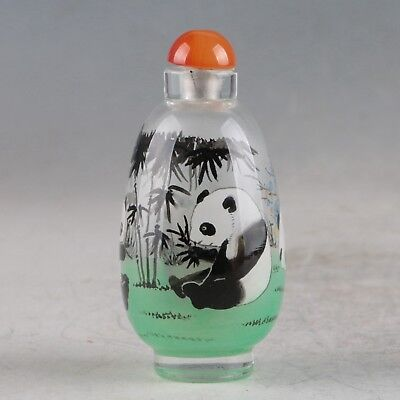 Exquisite Glass Hand Painted Panda & Bamboo Snuff Bottle ZJ389