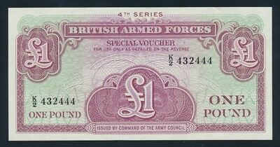 """Great Britain: BRITISH ARMED FORCES 1962 £1. LUCKY NO. """"444"""" Serial, PM36a UNC"""