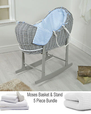 4Baby Grey Wicker / Blue Dimple Snooze Pod Basket & Rocking Stand + Bedding