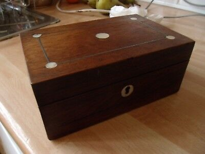 Victorian Rose-Wood Box Mother Of Pearl Inlay To Lid
