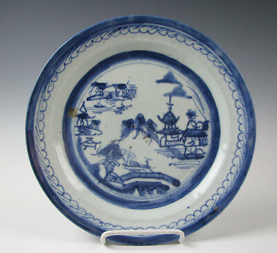 Antique Blue and White Chinese Export Porcelain Canton Dinner Plate 19th Century
