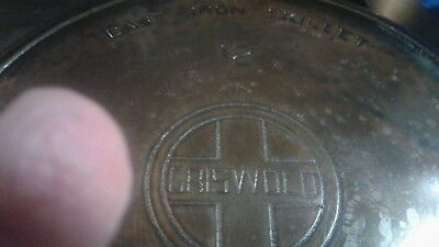 Griswold # 12 Large Logo Heat Ring Cast Iron Skillet Vtg Erie Cleaned USA 719
