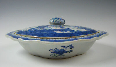 Antique Blue and White Chinese Export Porcelain Canton Vegetable Dish 19th C.