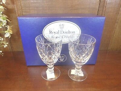 "BOXED UNUSED Doulton CRYSTAL ""GEORGIAN"" pair SMALL WINE GLASSES - 4.75"""