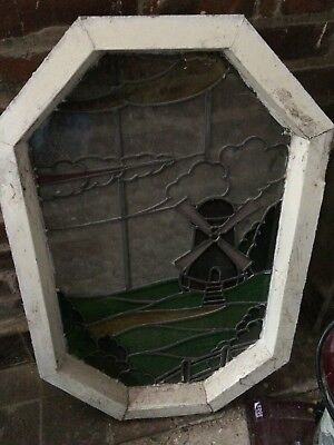 Octagon vintage stained glass window