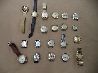 Lot of 20 Vintage Antique Watches Bulova Waltham Elgin parts repair running