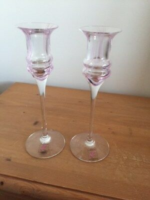 Pair of Caithness Glass Candlesticks in original boxes