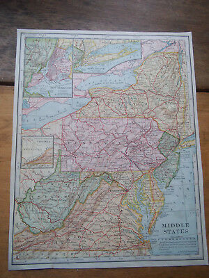 1902 Antq Lithograph ENGRAVED Plate Print MAP-USA -MIDDLE STATES (NEW YORK, ETC)