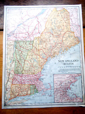 1902 Antq Lithograph ENGRAVED Plate Print MAP-USA- NEW ENGLAND  STATES