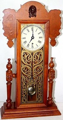 Antique /vintage Rare Canadian Very Tall Wood Parlor Clock W/ Lion Head Carvings