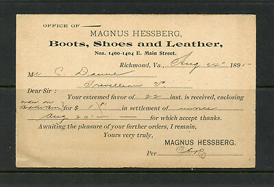1895 Magnus Hessberg Boots, Shoes, Leather of Richmond, VA  #UX 14 P. Card