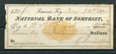 1876 National Bank of Somerset of Somerset, Kentucky Revenue Check